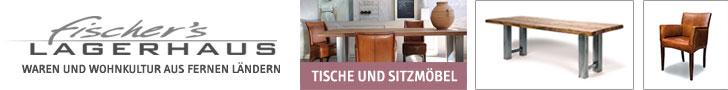Bei Fischer's Lagerhaus finden Sie Möbel und Wohndekoration aus fernen Ländern.